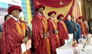 From Left: The Registrar, Ladoke Akintola University of Technology, Mr Jacob Agboola, the Vice Chancellor, Prof. Adeniyi Gbadegesin, Pro-chancellor and Chairman of the Governing Council, Prof. Wale Omole, Deputy Vice Chancellor, Prof. Timothy Adebayo, Representative of the Chancellor, University of Wisconsin-Stout, Usa, Prof. Mark Fenton and other guests, during the convocation ceremony in Ogbomosh.