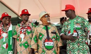 L-R: President, Trade Union Congress, Comrade Bobboi Kaigama,  Minister of Federal Capital Territory, Alhaji Mohammed Bello, Minister of Labour and Employment, Senator Chris Ngige and President Nigeria Labour Congress, Comrade Ayuba Wabba, during the 2016 May Day Celebration in Abuja, yesterday