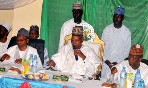 L-R: Gov. Nasir El-Rufai of Kaduna State; Chairman, Northern Governors Forum, Gov. Kashim Shettima of Borno, and Gov. Abdullazeez Yari of Zamfara, at the 19 Northern Governors Forum's  meeting in Kaduna on Friday.