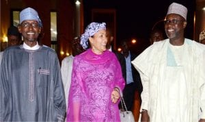 L-R: Minister of FCT,  Mohammed Bello, Environment, Amina Mohammed and Water Resources, Suleiman Adamu, at a reception dinner organised by Association of Consulting Engineers in Nigeria (ACEN)  for its President, Engr. Suleiman Adamu,  on his appointment as the Minister of Water Resources in Abuja on Friday