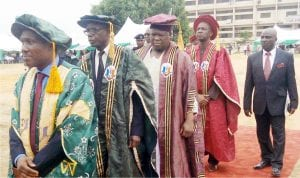 From Left: Vice Chancellor Unizik,  Prof. Joseph Ahaneku, Pro-Chancellor and Chairman Governing Council, Retired Avm Larry Koinyan, Gwom Gwom  of Jos, HRH  Da Jacob Buba  and Chancellor of the institution who is the representative of the President, Muhammadu Buhari, Prof. Anthony Anwuka, during the procession at the Unizik in Awka last Friday