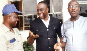 L-R: Chairman Nigeria Union of Journalists, Rivers State Council, Comrade Omoni Ayo-Tamuno, Director, Public Enlightment, Ministry of Information and Communications, Pastor Paulinus Nsirim and General Manager, Radio Rivers, Mr Sampson Fiberesima, during the 2016 World Press Freedom Day organised by NUJ in Port Harcourt, yesterday