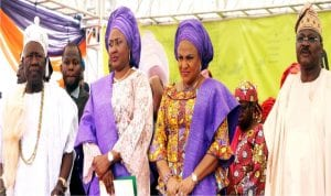 From Left: The Olubadan of Ibadanland, Oba Saliu Adetunji, Wife of the President, Mrs Aisha Buhari,Wife of the Governor of Oyo State, Mrs Florence Ajimobi, and Governor Abiola Ajimobi, at a Free Health Screening Programme for women organised by the Future Assured Initiative (Mrs Buhari's Pet Project), in Ibadan last Thursday