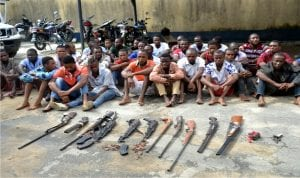 Cultist and amunition paraded at the Rivers State Police Command, during a press briefing, in Port Harcourt, recently.