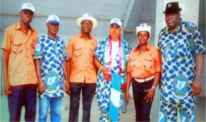 Rivers State Chairman, Nigeria Civil Service Union (NCSU), Comrade O. T. Tilly-West (3rd right), State Secretary, Comrade Dan Otakpo (right), Vice Chairman, Comrade Fidelis Ologodien (left), Treasurer, Comrade Grace Opurum (2nd right), State Auditor, Comrade Peaceman Horsfall (2nd left) and state Assistant Secretary, Comrade Dere Tammy, during the May Day celebration at the Yakubu Gowon Stadium in Port Harcourt, on Sunday.