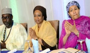 Minister of Water Resources, Suleiman Adamu,  his wife, Hauwa and Minister of Environment, Amina Mohammed,  at a reception dinner organised by Association of Consulting Engineers in Nigeria (Acen)  for its President, Engr. Suleiman Adamu,  on his appointment as the Minister of Water Resources in Abuja last Friday