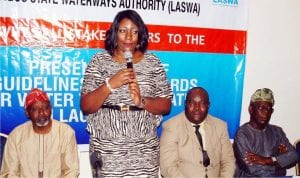 L-R: Area Manager, Nationalinl and Waterways Authority (Niwa), Lagos, Muazu Sambo; Managing Director, Lagos State Waterways Authority (Laswa), Bisola Kamson; Chairman, Lagos Ferries Operators, Paul Kalejaiye, and Representative of the Permanent Secretary, Lagos State Ministry of Transportation, Adebolamatanmi, at a Joint Presentation of Guidelines and Standards for Water transportation in Lagos State, on Tuesday.
