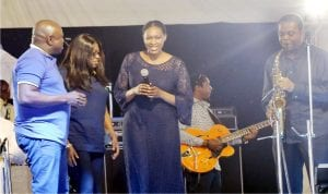 """L-R: Gov. Akinwunmi Ambode and his wife, Bolanle, join the former governor of Cross River State, Donald Duke and his wife, Onari on stage as Duke performs at ``An Evening of Jazz"""" with Gov. Akinwunmi Ambode in Lagos on Saturday night."""