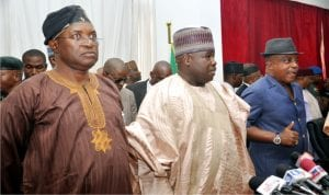 From Right: Pdp National Secretary, Prof. Wale Oladipo, Pdp National Chairman, Dr Ali Modu Sheriff, and Acting Chairman Of The Pdp NationalcWorking Committee, Uche Secondus, during the inauguration of Pdp Special Committee for the coming National Convention in Abuja recently