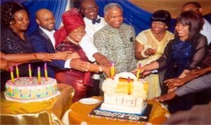 Pro-Chancellor/Chairman University of Nigeria Nsukka (UNN), Emmanuel C. Ukala SAN (centre) cutting his 60th birthday cake. Wife of the Governor of Rivers State, Justice Mrs Suzzete Wike (3rd right), Dr (Mrs) Kate Ukala (3rd left), Chief  Ifeatu John Areh,  Regional Eck Spiritual Aide (RESA) Eckankar Nigeria (4 left), Justice Okocha (rtd) and his childrens during the celebration at Le Meridien Hotel Port Harcourt last Saturday.         Photo: Chris Monayanaga.