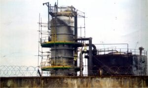 The production tank belonging to Nigeria Agip Oil Company (NAOC) in Ebocha Community, Ogba/Egbema/Ndoni Local Government Area of Rivers State.