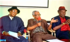 Chairman, Otonti Nduka Foundation, Prof Emeritus Otonti Nduka (middle), addressing a press briefing at the NUJ Secretariat, while representative of the Nigeria Academy of Education Committee, Prof. A. K. Orubite (right) and chairman, Organising Committee, Dr Hillary Wordu, watch.