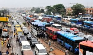 Traffic at Ojota following a down pour in Lagos, recently.