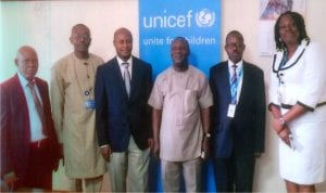 Rivers State Commissioner for Budget and Economic Planning, Hon Isaac Kamalu (3rd right), with Chief, UNICEF Field Office, Port Harcourt, Mr Wilbroad Ngambi (2nd right), Chief, UNICEF Field Office, Enugu, Mr Charles Nzuki (3rd left), UNICEF Officer in charge of Media and External Affairs, Mrs Ijeoma Ogwe (right), Permanent Secretary, Ministry of Budget and Economic Planning, Mr Felix O. Odungweru (2nd left) and Director, Planning/Programme Manager, UNICEF-Asstd PME, Mr Ikpe G. O, during a courtesy visit by UNICEF team to the commissioner in Port Harcourt, yesterday.