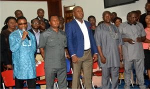 Chairmen of Local Governemnt  Caretaker Committees being screened by Rivers State lawmakers in Port Harcourt, on Monday.Photo: Chris Monyanaga