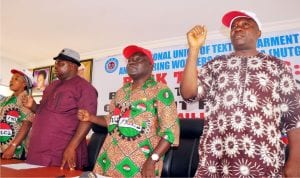 L-R: Executive member of the National Union of Textiles, Garments and Tailoring Workers of Nigeria (Nutgtwn), Mrs Jaciaya Obimma, President of Nutgtwn, Mr John Adaji, General Secretary, Mr Issa Aremu and Deputy General Secretary, Mr Dele Ojo, at a news conference on Workers Achievements, in Kaduna, recently