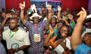 Rivers State Chairman, Peoples Democratic Party (PDP), Bro Felix Obuah (2nd left), celebrating his victory with party members, during the State Congress of the party in Port Harcourt on Tuesday.