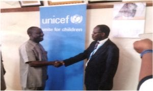 Rivers State Commissioner for Budget and Economic Planning, Hon Isaac Kamalu (left), in a handshake with Chief, United Nations Children's Fund (UNICEF), Port Harcourt Field Office, Mr Milbroad Ngambi, during a courtesy call on the commissioner in Port Harcourt by a UNICEF team on Tuesday.