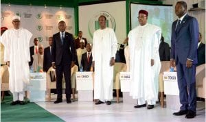 L-R: President Muhammadu Buhari, President Patrice Talon of Benin Republic, President Idriss Deby of Chad, President Mahamadou Issoufou of Niger and President Faure  Gnassingbé of Togo,  at the   2nd Regional Security Summit in Abuja on Saturday