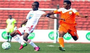 An NPLF action recorded at the Nnmadi Azikiwe stadium, Enugu, recently