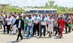 Bayelsa youths celebrating in remembrance of the Late Ijaw Leader, Isaac Boro in Yenagoa, yeserday.