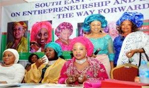 L-R: A former representative of Abia Central Senatorial District, Senator Nkechi Nwaogu, representative of the wife of the President, Mrs Ummul-kulsum Buratai, APC National Women Leader, Dr Ramatu Aliyu, APC South-East Zonal Women Leader, Mrs Sally Chinebu  and APC Women Leader for Enugu State, Ngozi Nwankwo, during APC South-East Women Summit in Enugu, yesterday.