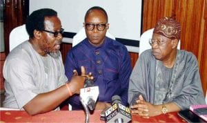L-R: Executive Chairman, Coalition Against Corrupt Leaders, Debo Adeniran, Minister of State for Petroleum, Mr Ibe Kachikwu and Minister of Information and Culture, Alhaji Lai Muhammed, at the interactive session of the Ministers with Coalition of Civil Society Organisations and other officials on the issue arising from the recent increase in the pump price of petrol in Lagos on Monday.