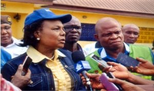 Rivers State Commissioner for Environment, Prof Roseline Konya (left), briefing journalists during a monthly sanitation exercise in Port Harcourt, recently. With her is State Director, National Orientation Agency (NOA), Mr Oliver Worlugbum (right), in Port Harcourt, recenlty.