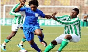 FC Ifeanyi Uba's Brazilian import, Mendro (middle) meandering through opponents, during a league game with Niger Tornadoes at the weekend in Nnewi