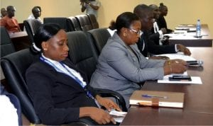 Cross section of lawyers at the commencement of sitting of the Commission of Inquiry investigating violence and killings during the March 19, 2016 re-run parliamentary elections in Rivers State at the state judiciary complex in Port Harcourt, on Monday.