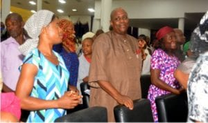 Chairman Editorial Board, The Tide Newspaper, Chief Dagogo Clinton (middle) and other worshippers at the Redemption Ministries, during Suya Night 2016 in Port Harcourt on Saturday.
