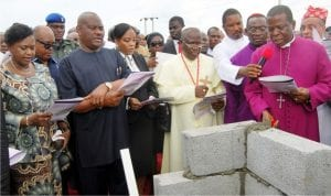L-R: Deputy Governor of Rivers State, Dr Ipalibo Harry-Banigo, Governor Nyesom Wike, his wife, Suzzeth, the Methodist Primate, Rev. Samuel Uche, Anglican Archbishop of the Niger Deltas, North Diocese, Archbishop Ignatius Kattey and Primate of All Nigeria Anglican Communion, His Grace Most Rev Nicholas Okoh, at the inauguration of the Ecumenical Centre in Port Harcourt on Wednesday, as part of activities to mark the governor's one year in office.
