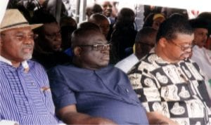 L-R: Former Minister of Transport, Dr. Abiye Sekibo, PDP chieftain, Chief Sergent Awuse and Senator Lee Maeba, during the commissioning of Alesa, Okerewa-Aleto Eleme Booster Water Station, yesterday by Governor Nyesom Wike. Photo: Egberi A. Sampson
