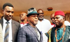 All Progressives Congress, Enugu State Chairman, Dr Ben Nwoye, founder, Baywood Foundation, Chief Chris Baywood and Igwe of Nimbo Community, Enugu State, Igwe John Akor, during a sympathy visit to the Igwe on the recent herdsmen attack on the community in Enugu, recently.