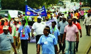 Rivers State NLC members at a rally during the strike action in Port Harcourt                      Photo: Ibioye Diama