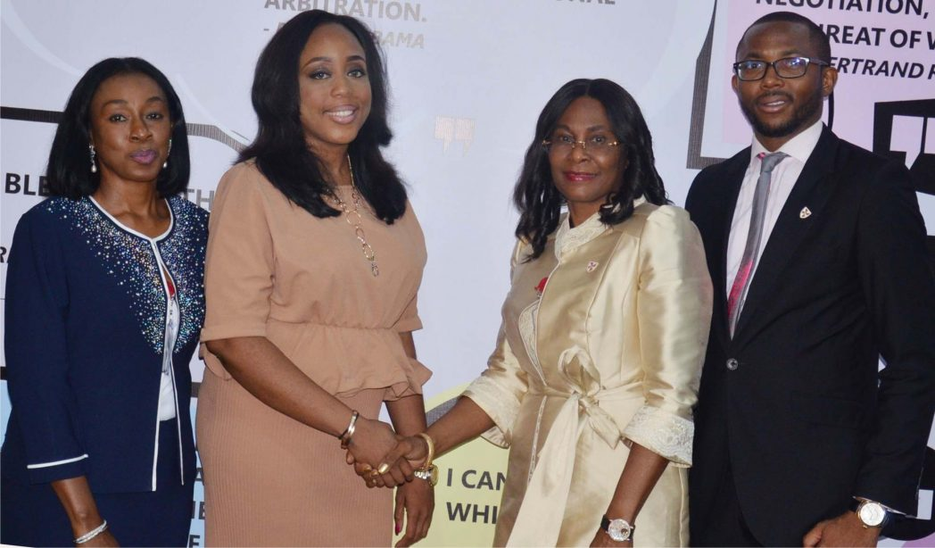 L-R Branch Secretary Chartered Institute of Arbitrators, United Kingdom Nigeria Branch Mrs Folashade Alli Chairperson of CIARB Young Members Group, Folake Sadiq Chairperson of CIARB UK Nigeria Branch Mrs Adedoyin Rhodes Vivour