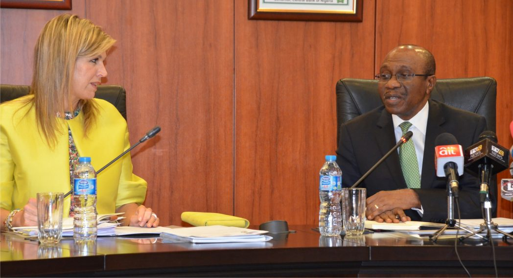 Governor, Central Bank of Nigeria (CBN), Mr. Godwin Emefiele, with Queen Maxima Zorreguieta of the Kingdom of Netherlands, during the Queen's visit to CBN in Abuja, last Wednesday.