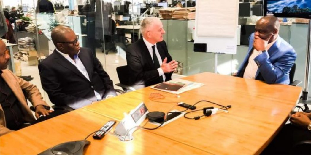 Rivers State Governor, Chief Nyesom  Wike (right), with Commercial Director, Africa and The Middle East , Financial Times of London, Mr. Mark Carwardine (middle) and Sales Manager for Africa and the Middle East, Mr Larry Kenny, during the governor's visit to Financial Times in London, last Friday.