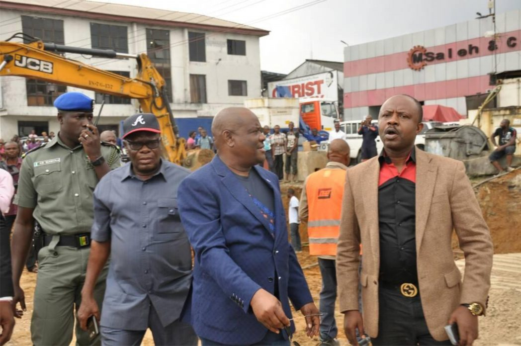 Rivers State Governor, Chief Nyesom  Wike  (middle), with former Minister of Sports, Dr Tammy Danagogo (right) and Prince Emma Anyanwu, during project inspection after the return  of the Governor to Port Harcourt, yesterday.