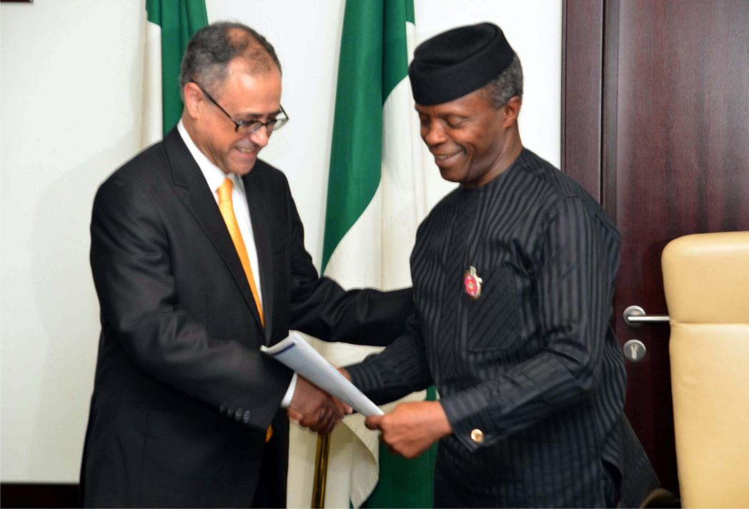 Vice President  Yemi Osinbajo (right), receiving a report on the Ease of Doing  Business from World Bank's  Country Director, Mr Rachid  Benmessaoud, during  a meeting at the Presidential Villa in Abuja, last Wednesday.
