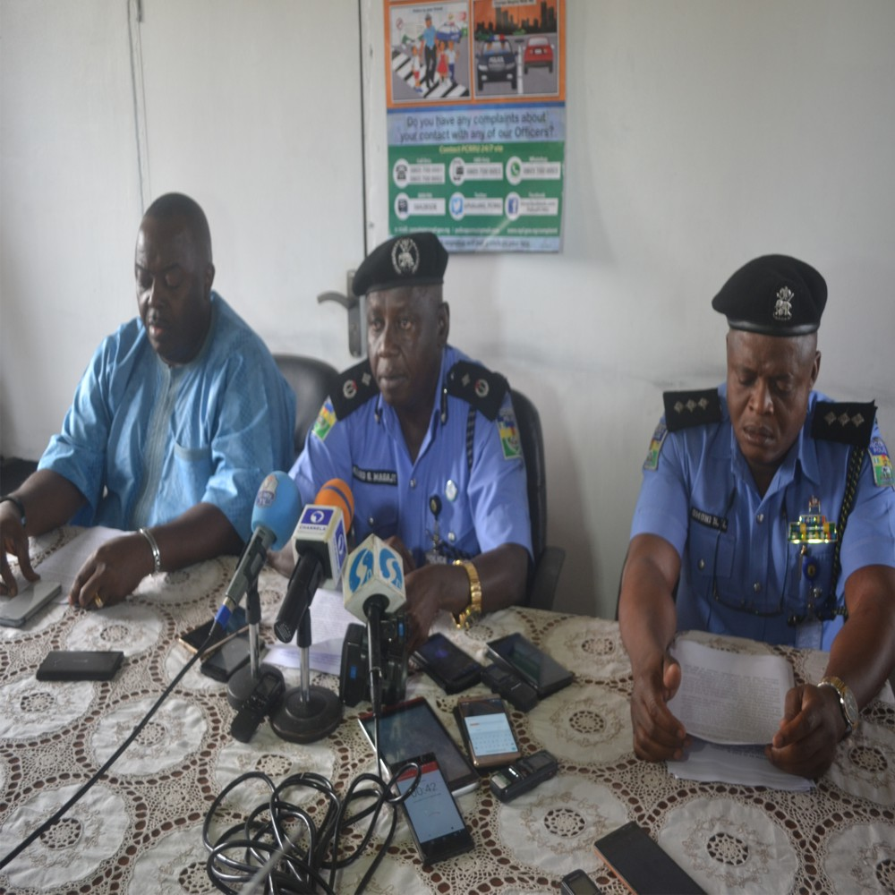 Rivers State Deputy Commissioner of Police,  DCP Ahmed G. Magaji (middle), addressing newsmen on the activities of the command in Port Harcourt, last Friday. With him are Commander in charge of State Investigation ad Intelligence  Department (SIIB), Felix Vwanhi (left) and Police Public Relations Officer, DSP Nnamdi  Omoni. Photo: Nwiueh Donatus Ken