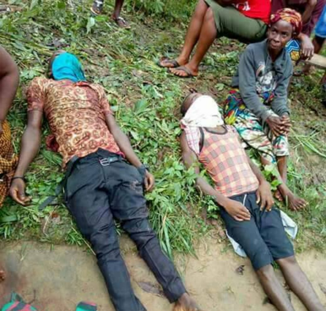 Bodies of innocent Ogoni youths killed by SARS operatives in Luebe community in  Ogoniland, last Saturday.
