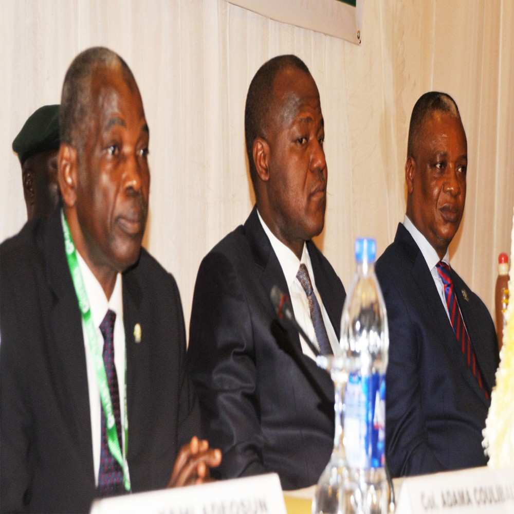 L-R: Director-General, Inter-Governmental Action Group Against Money Laundering  of West Africa (GIABA), retired Colonel Adamu Coulibaly, Speaker, House of Representatives, Yakubu Dogora and representative of the Minister of Justice, Mr Silvester Emanobi, during the 28th GIABA Technical Commission and 18th Ministerial Committee meeting in Abuja, yesterday.